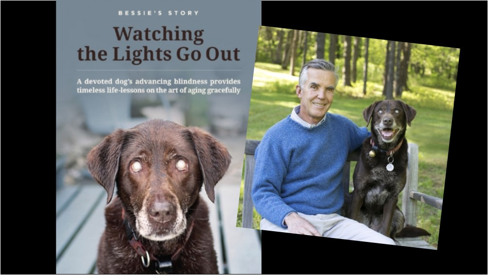 Book cover for Bessie's Story Watching the Lights go out next to a picture of the author and his dog Bessie