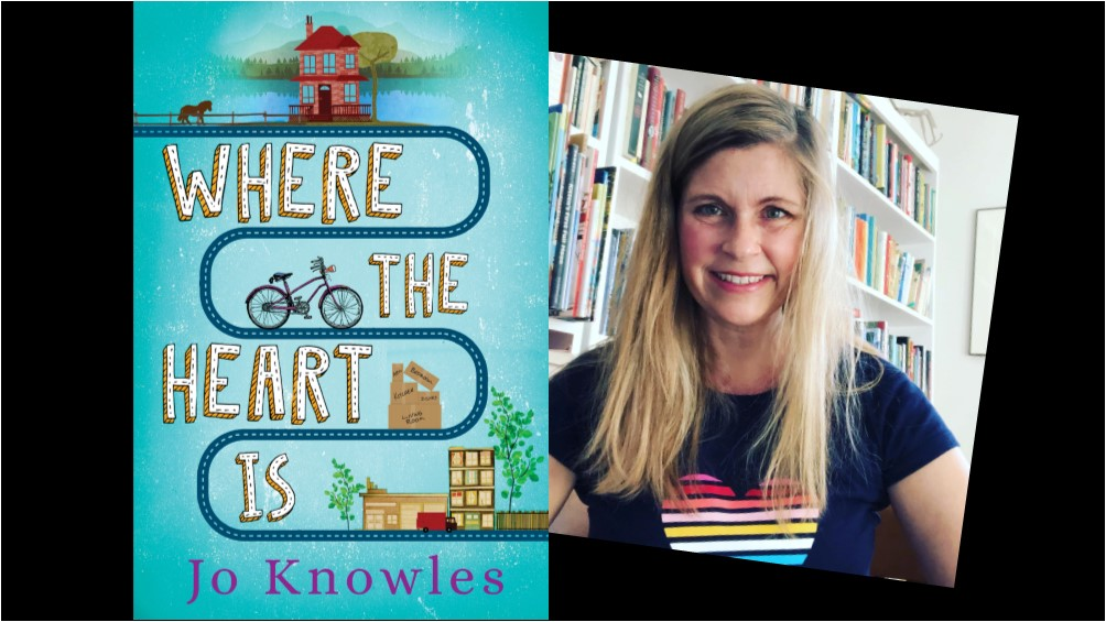 Book cover for Where the Heart Is next to a photograph of author Jo Knowles