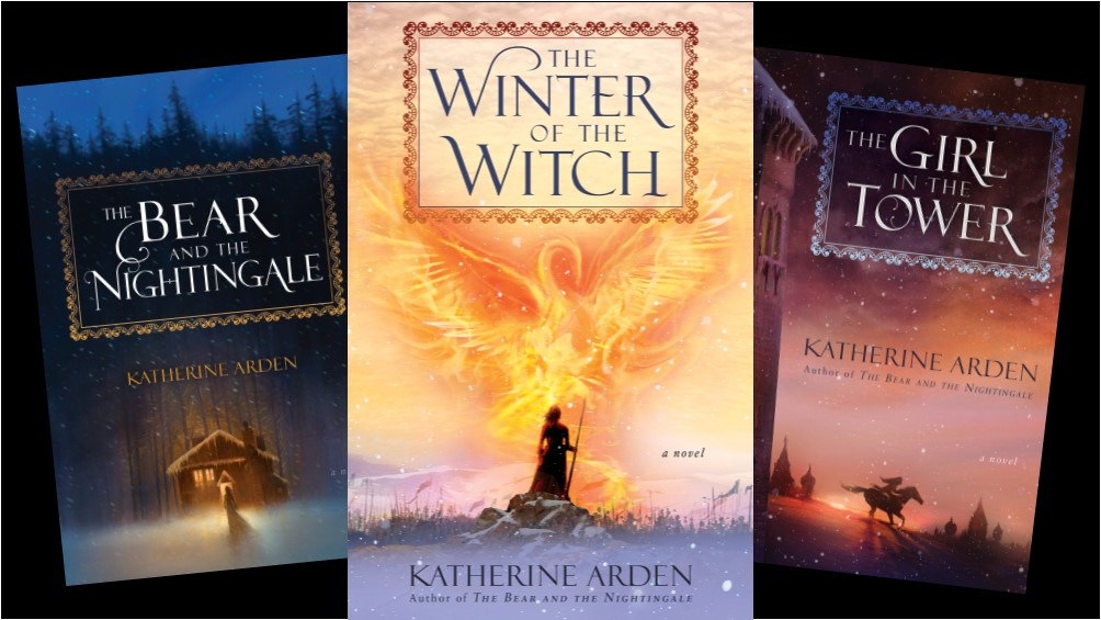Book Covers for the three books in Katherine Arden's Winternight Trilogy