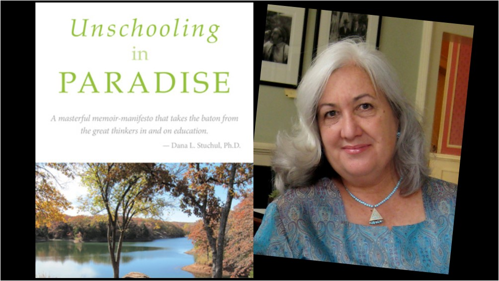 Cover of the book Unschooling in Paradise by Kathleen Kesson next to a photo of the author