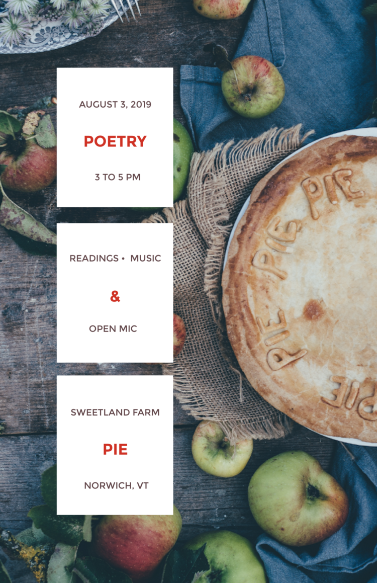 Poetry and Pie poster with names of participating poets and event information