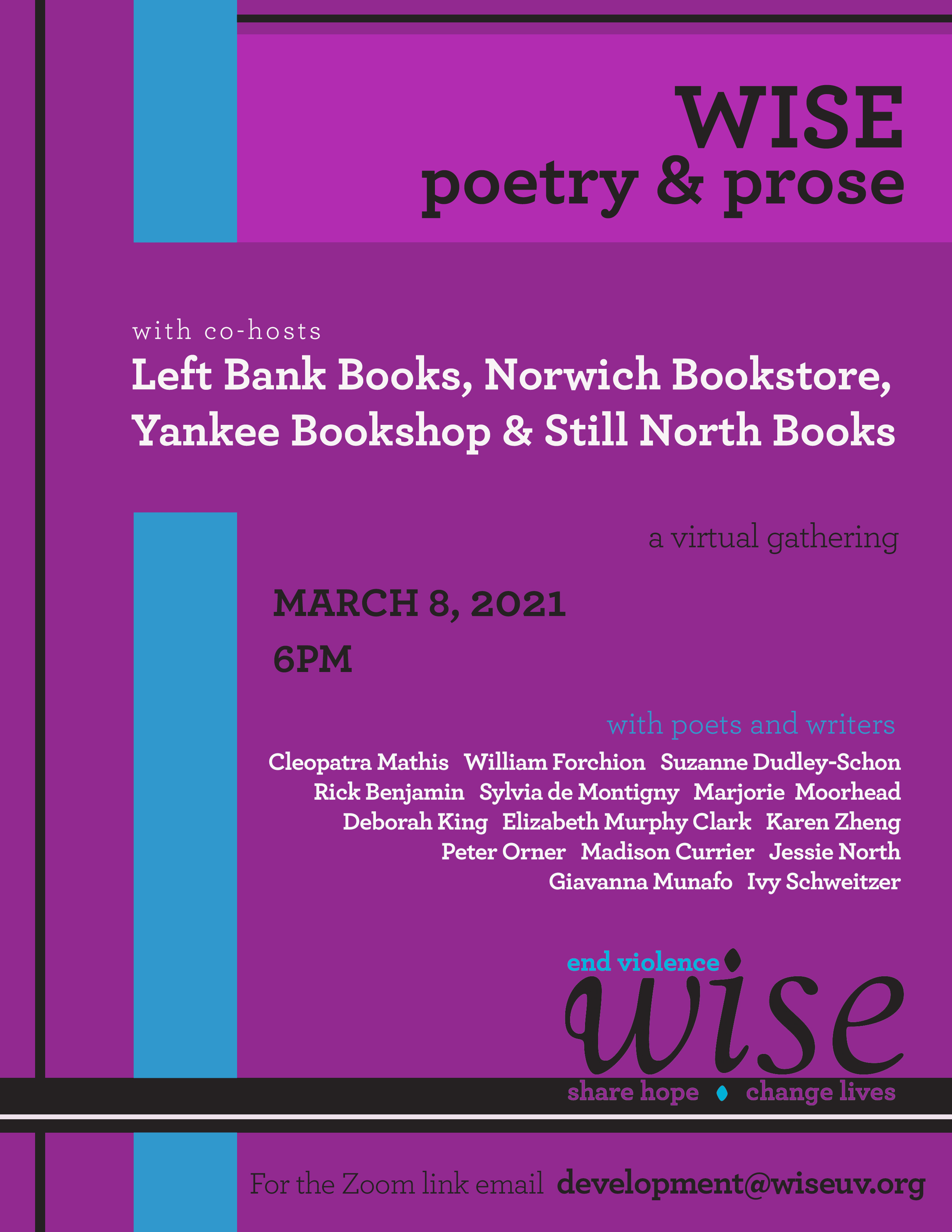 WISE poetry & prose, sponsored by four independent bookstores, Monday 3/8 at 6pm, list of participating authors